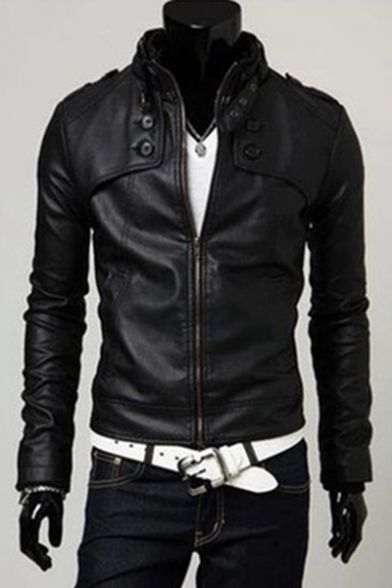 Men's Business Stand Collar Long Sleeve Zip Up Slim Fitted PU Jacket