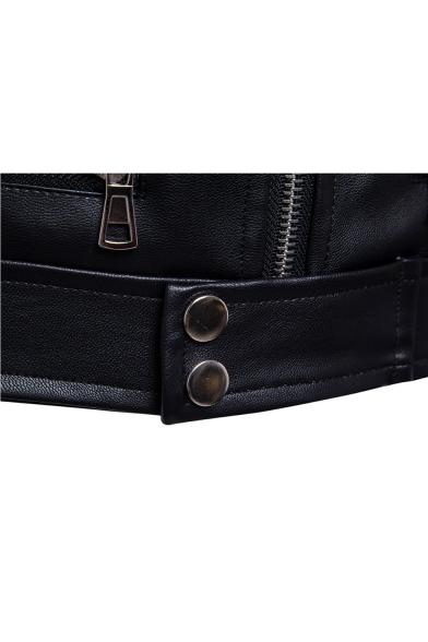 Men's Classic Long Sleeve Stand Collar Multi-Zip Embellished Slim Fitted Black Biker Jacket