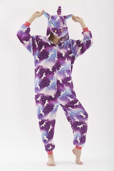 Purple Pegasus Cosplay Unisex Fleece Onesie Costume Sleepwear Pajamas for Adult