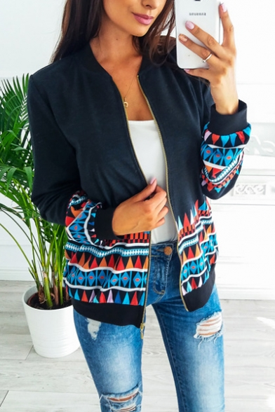 Stylish Geometric Printed Long Sleeve Stand Collar Zip Up Jacket for Women