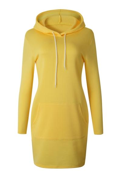 Women's New Stylish Long Sleeve Basic Solid Mini Bodycon Hoodie Dress