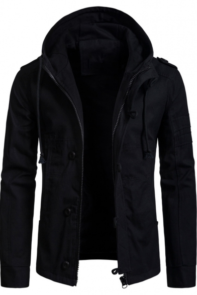 Image of 6 Men's Long Sleeve Hooded Zip Up Regular Fitted Jacket