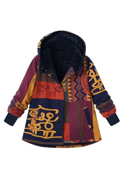 Fashion Color Block Pattern Long Sleeve Hooded Button Down Cotton-Padded Coat