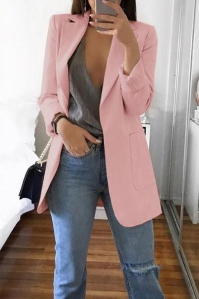 Fashion Long Sleeve Notched Lapel Plain Open Front Tunics Blazer Coat for Women