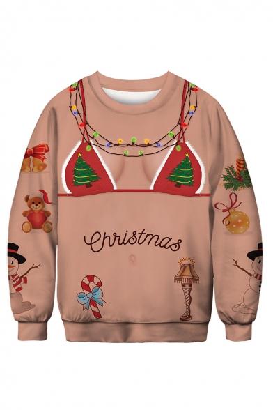 Funny 3D Bra Pattern Christmas Printed Round Neck Long Sleeve Sweatshirt, LC491849