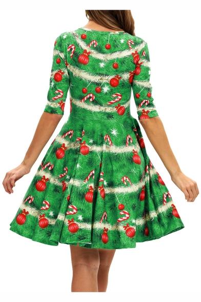 Ladies Half Sleeve Green Mid Length A-Line Pleated Dress