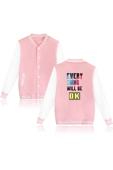 Letter EVERYTHING WILL BE OK Color Block Stand Collar Button Front Baseball Jacket