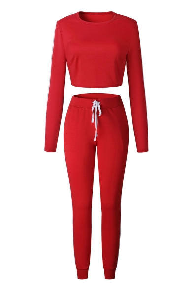 Long Sleeve Cropped Top Striped Side Pants Fashion Sports Co-ods