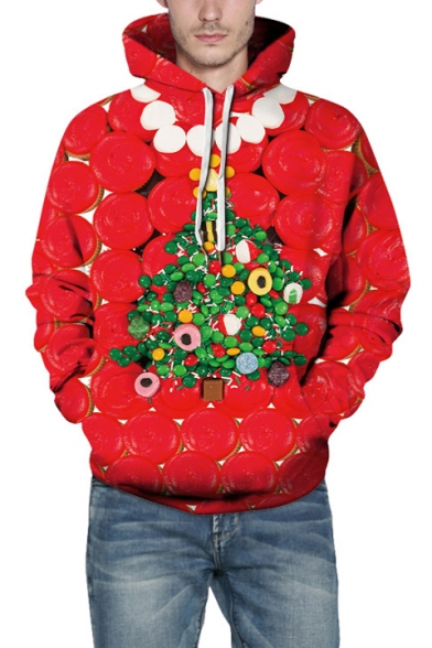 New Fashion Red 3D Christmas Tree Pattern Long Sleeve Loose Fitted Hoodie, LC491812
