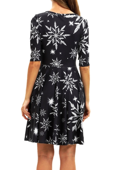 Women's Chic Half Sleeve Snowflake Printed Black Midi A-Line Pleated Dress