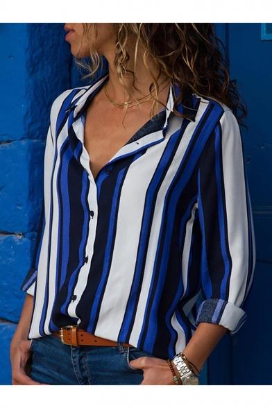 Купить со скидкой Chic Colorblock Stripes Printed Long Sleeve Lapel Shirt for Women