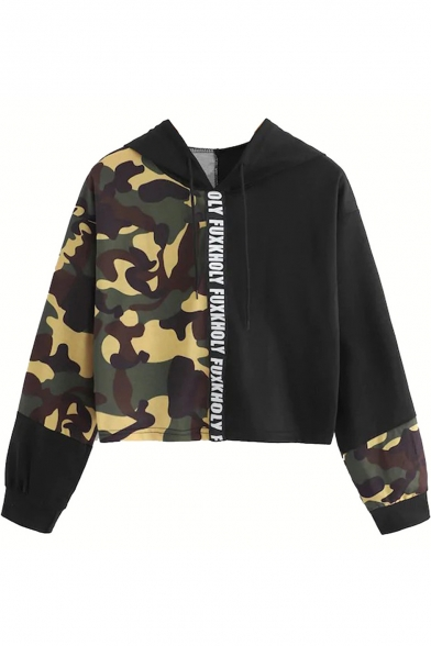 Fashion Camo Pattern Color Block Letter Print Long Sleeve Cropped Hoodie