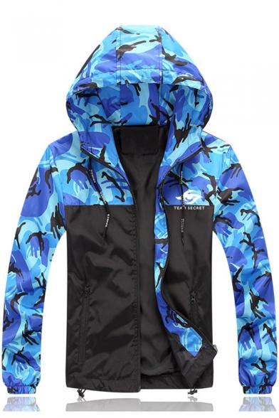 Men's Autumn Stylish Colorblock Camouflage Pattern Long Sleeve Hooded Zip Up Jacke
