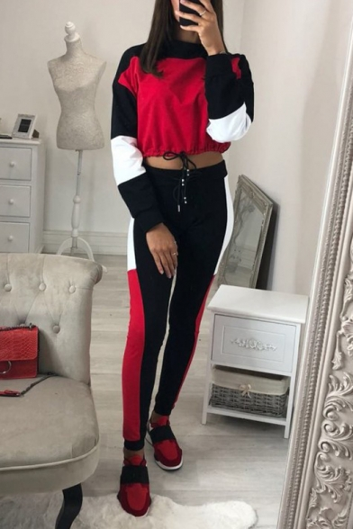 Купить со скидкой New Fashion Color Block Long Sleeve Cropped Sweatshirt Sports Pants Casual Outfit Co-ords