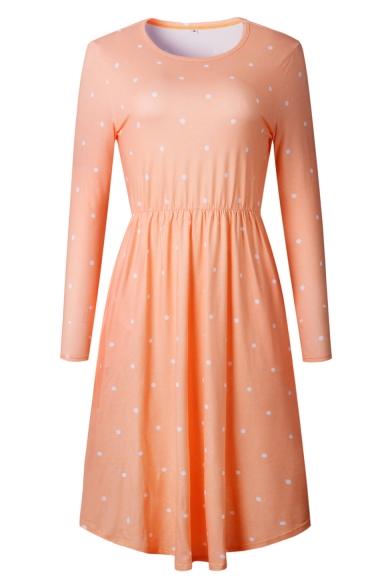 Simple Long Sleeve Polka Dot Pattern Elastic Wist Midi T-Shirt Dress