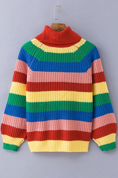 Women's Winter Fashion Colorful Striped Color Block Turtleneck Red Sweater