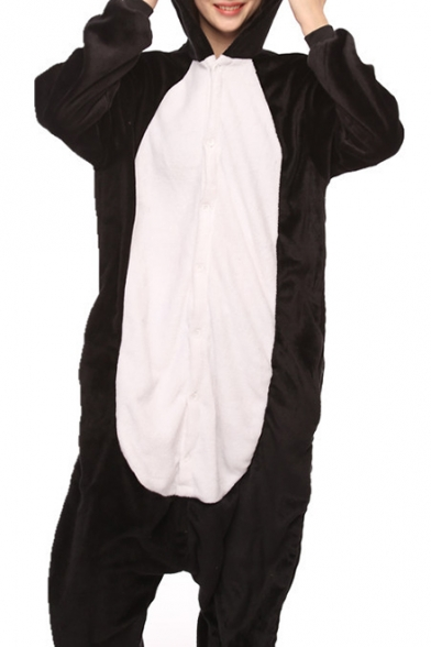 Black and White Penguin Cosplay Long Sleeve Fleece Unisex Onesie Pajama