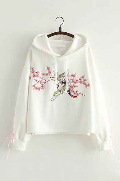 Chic Bow Tied Long Sleeve Fashion Floral Embroidered Loose Hoodie