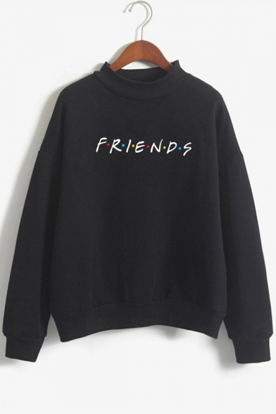Colorful Dot Letter FRIENDS Printed Mock Neck Long Sleeve Pullover Sweatshirt