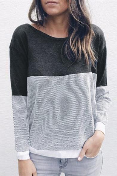Купить со скидкой Crisscross Back Round Neck Long Sleeve Color Block Loose Casual T-Shirt