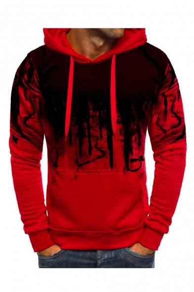 Men's Unique Letter Painted Long Sleeve Slim Fitted Hoodie