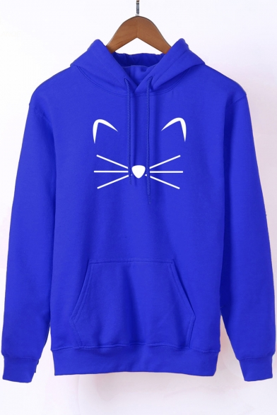 New Stylish Cartoon Cat Printed Long Sleeve Casual Loose Hoodie for Juniors