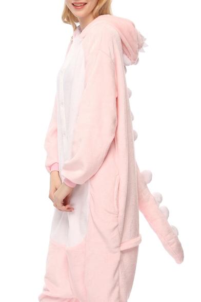 Pink Dragon Cosplay Long Sleeve Hooded Carnival Fleece Costume Pajamas LC490657 фото