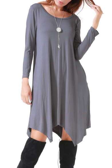 Simple Long Sleeve Round Neck Plain Casual Shift Midi Dress