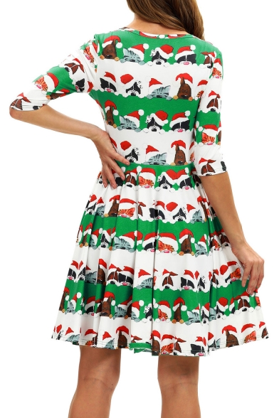 Christmas Cartoon Cat Pattern Half Sleeve Midi A-Line Green Pleated Dress