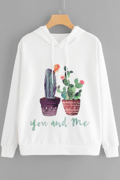 Cute Letter YOU AND ME Cactus Pattern Long Sleeve Winter's White Hoodie
