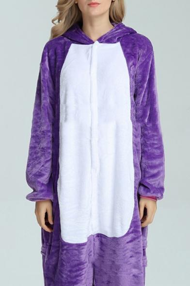 Dark Purple Fleece Long Sleeve Unisex Cosplay Carnival Onesie Pajamas