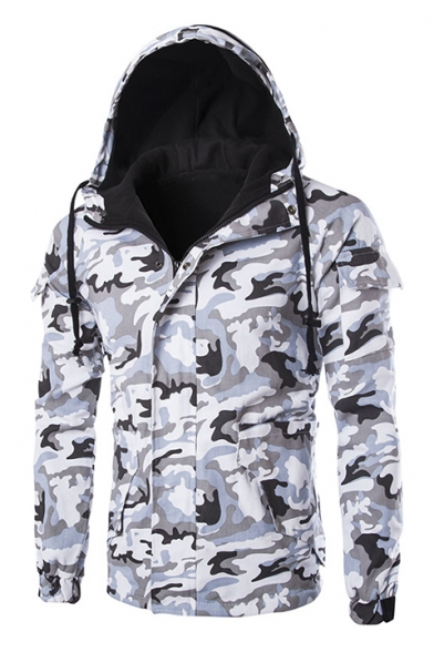 Men's Classic Trendy Camouflage Printed Long Sleeve Hooded Zip Up Jacket