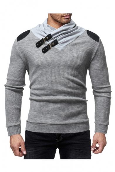 Новые мужские стильный пряжка шеи искусственная кожа пропатчен плечо с длинным рукавом джемпер