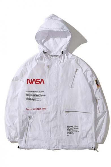Unique Multi Zip Embellished Long Sleeve NASA Logo Pattern Hooded Zip Up Jacket