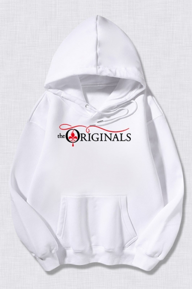 Unisex Long Sleeve Letter THE ORIGINALS Printed Casual Drawstring Hoodie