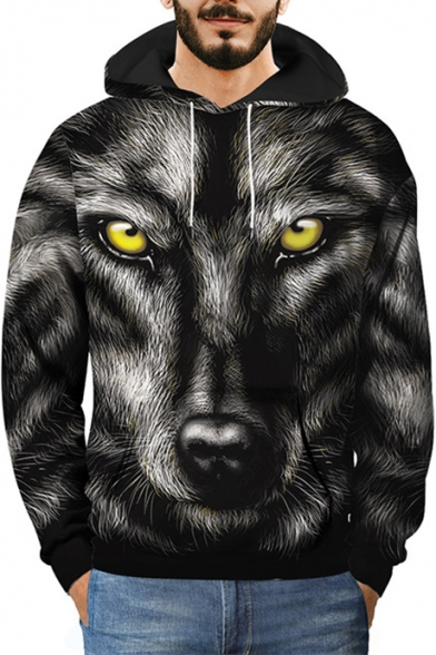 Winter's 3D Wolf Printed Long Sleeve Black Hoodie for Men
