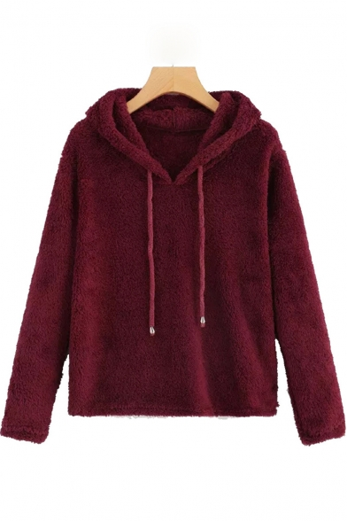 Winter's Unique Fashion Long Sleeve Solid Fleece Loose Fitted Hoodie