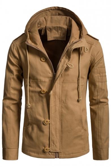 6 Men's Long Sleeve Hooded Zip Up Regular Fitted Jacket