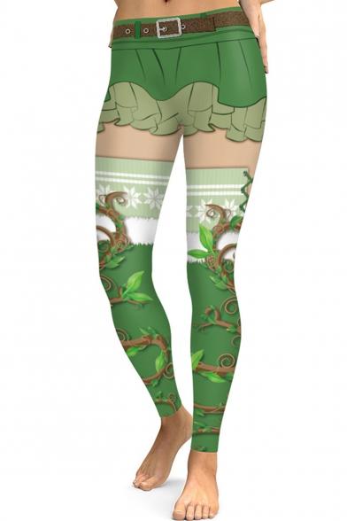 Fashion Digital Printed Green Sports Stretch Leggings