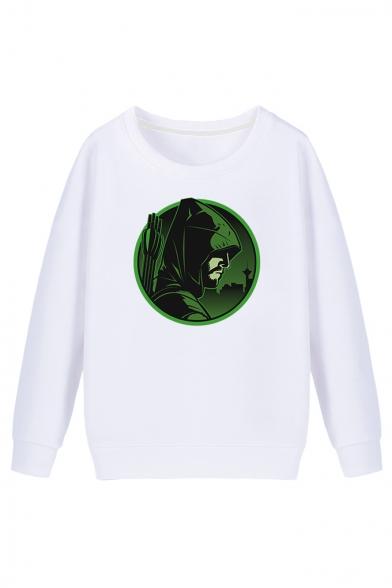 GREEN ARROW Cartoon Character Printed Round Neck Long Sleeve Fit Sweatshirt