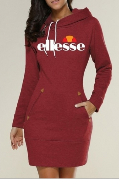 Letter ELLESSE Printed Long Sleeve Hooded Mini Dress