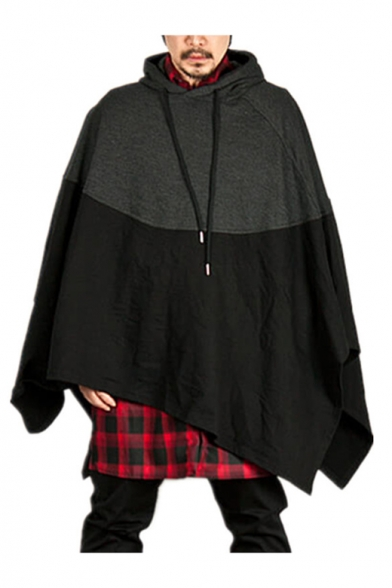Men's Hooded Long Sleeve Color Block Oversized Witch Cosplay Cape Coat