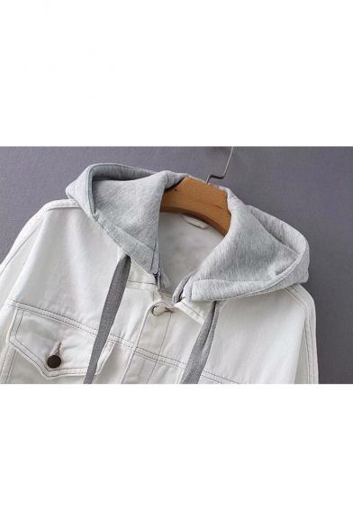 Winter's Long Sleeve Detachable Gray Hood Button Down White Denim Coat