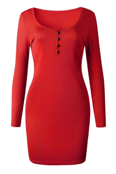 Autumn's Sexy Button Front Long Sleeve Scoop Neck Bodycon Mini Dress for Women