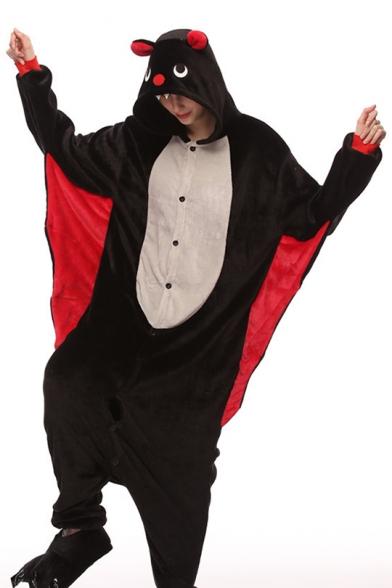 Black Batwing Coral Fleece Long Sleeve Unisex Carnival Costume Onesie Pajamas