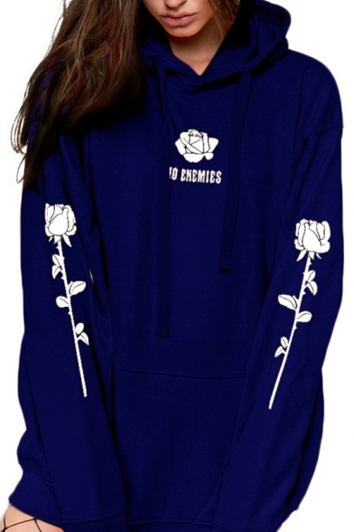 Chic Letter Floral Pattern Long Sleeve Casual Loose Hoodie for Women