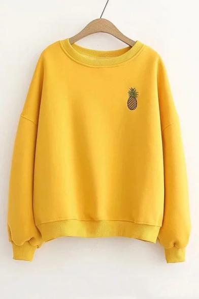 Generic Womens Long Sleeve Crop Hoodie Pineapple Print Pullover Sweatshirts