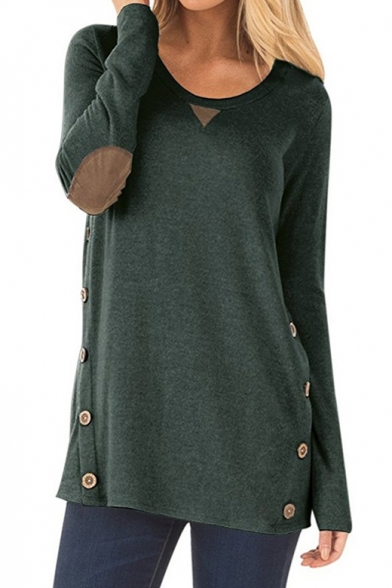 Fashion Patched Embellished Long Sleeve Round Neck Button Side Loose T-Shirt