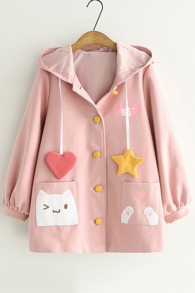 Funny Cartoon Cat Patched Pocket Long Sleeve Hooded Button Down Coat