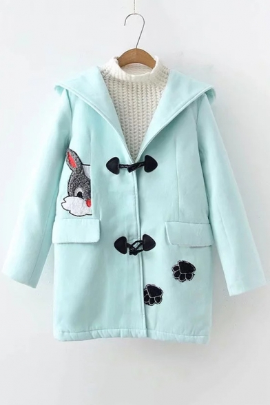 Lovely Cartoon Rabbit Patched Long Sleeve Hooded Toggle Button Down Woolen Coat